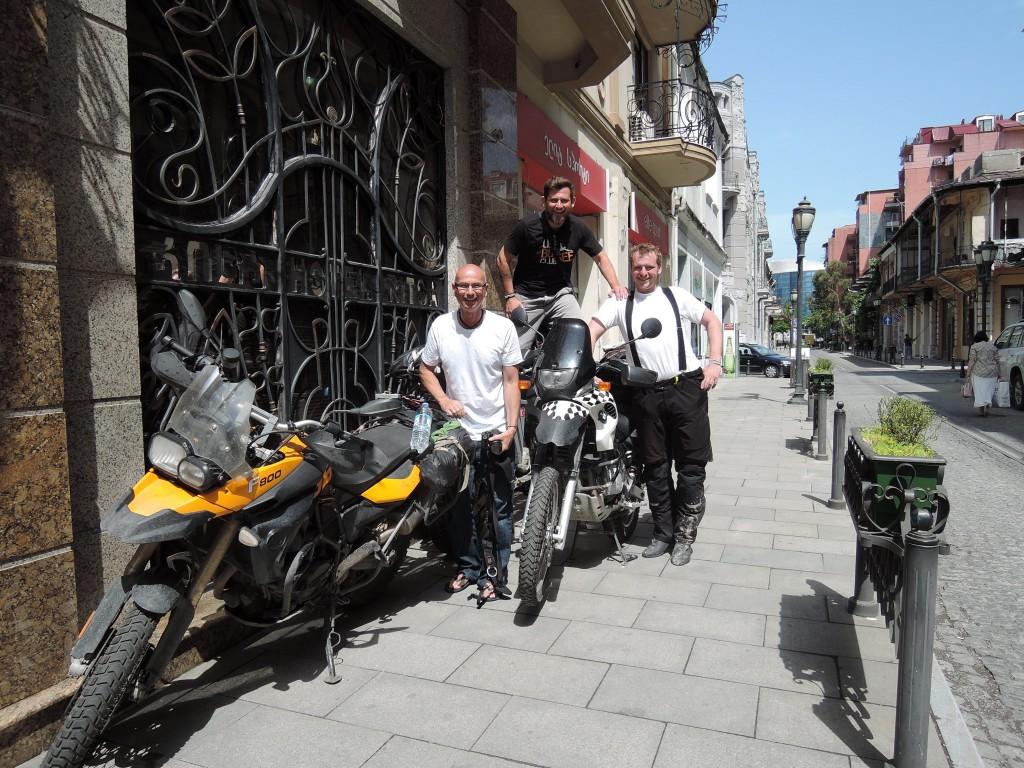 Garth, Dan and Jindrich in front of Ritza Hotel Batumi