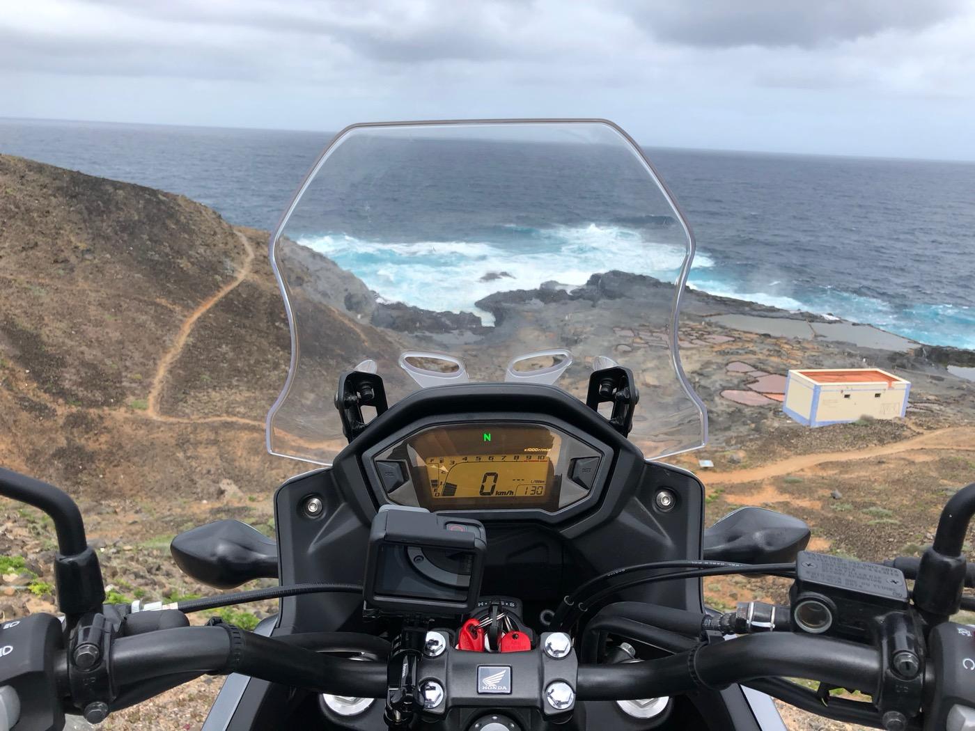 Honda CB500X - pohled z kokpitu
